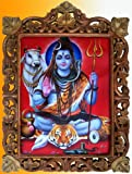 Lord Shiva with His Cow in Meditation Poster Painting in Wood Crafts Frame, Art Crafts & Handicrafts