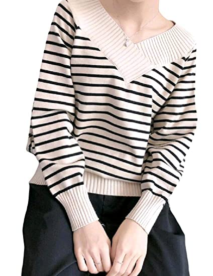 65abe9477 AngelSpace Women Stripes Printed V Neck Casual Casual Pullover ...