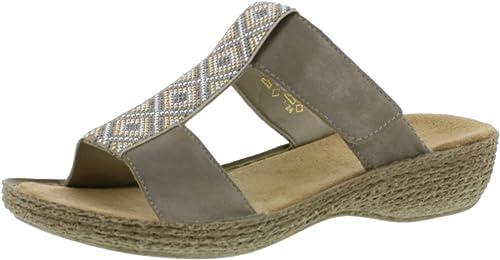 Rieker 65882 Femme Sandale à lanières,Chaussures d'été,Confortable,Plat