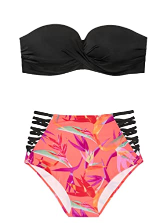 efd144bc3eecf Amazon.com: Victoria's Secret Pink Swim Set The Twist Push-Up Bandeau Top M  The Strappy High Waist Bikini Bottom M: Clothing