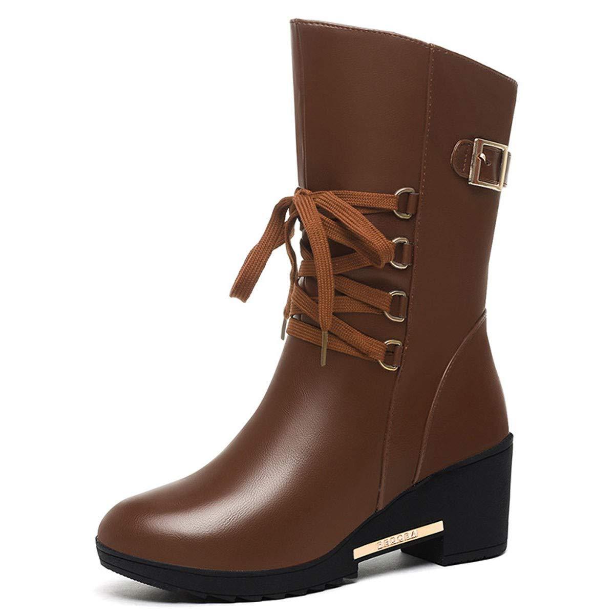 GTVERNH Frauen Schuhe Mittlere U - Stiefel Samt 6 cm High Heels Frauen - Stiefel.