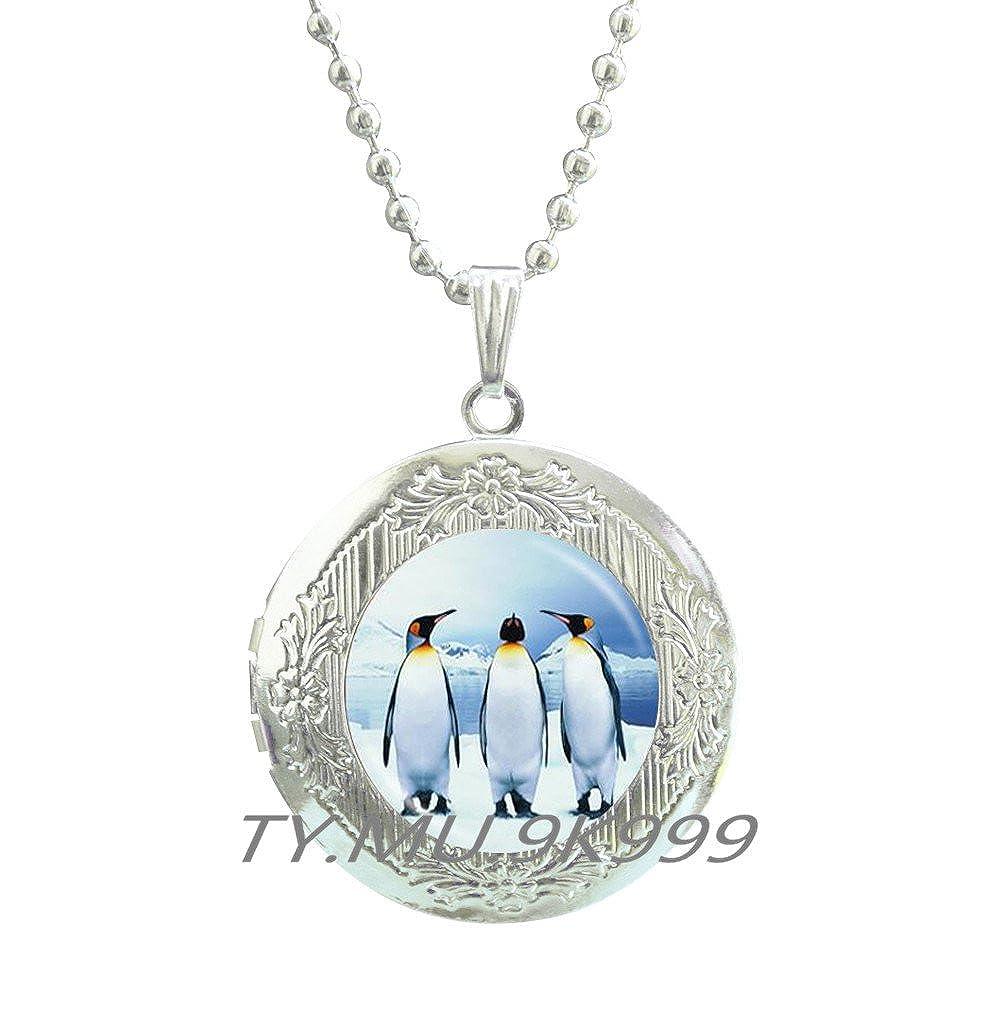 Yao0dianxku Penguin Locket Necklace Penguin jewelry Gift for girlfriend Penguin Locket Pendant Gift for wife Penguin art Birthday gift Best friend gift Ocean jewelry.Y189