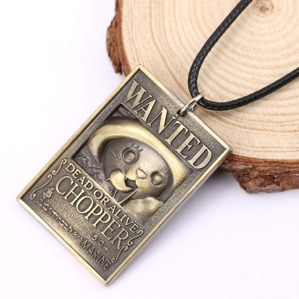Value-Smart-Toys - 12pcs/lot Jewelry One Piece Anime Dog Tag Military Card Pendant 3D Tony Tony Chopper Wanted Necklace sale collar necklace