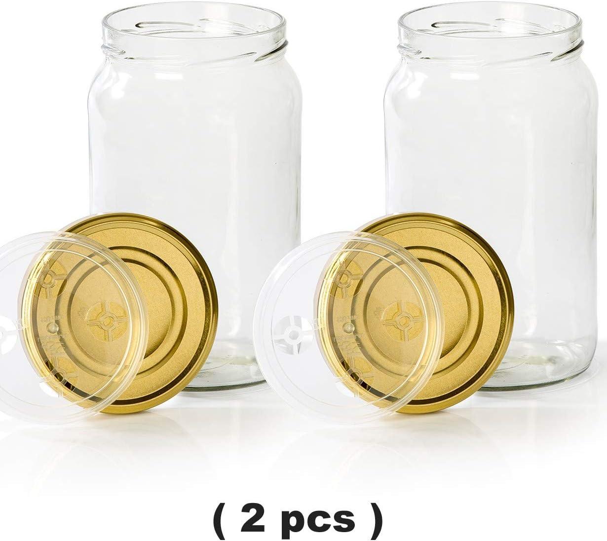 myFERMENTS Pack de 2 Tarros de Cristal Grandes con Tapa (1966 ml)- Especial para Hacer Conservas, Fermentación y Encurtidos.