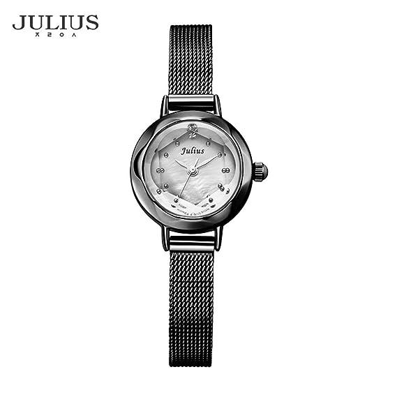Julius JA-482 Reloj para Mujer Reloj de Cuarzo Resistente al Agua Correa de Malla y Cuero Reloj de Moda de Japón Reloj Movt - Negro: Amazon.es: Relojes