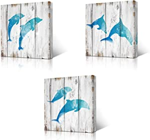 """HOMEOART Jumping Dolphins Teal Blue Bathroom Wall Decor Ocean Animal Painting Wood Texture Background Art Print on Canvas Framed Artwork Ready to Hang 12""""x12""""x3Panels"""