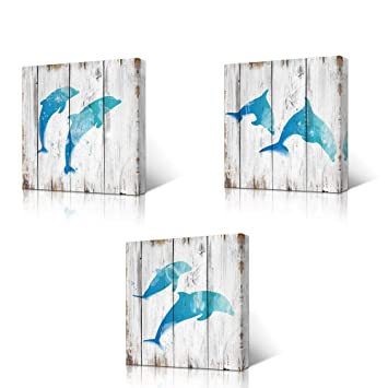 Homeoart Jumping Dolphins Teal Blue Bathroom Wall Decor Ocean Animal Painting Wood Texture Background Art Print On Canvas Framed Artwork Ready To Hang