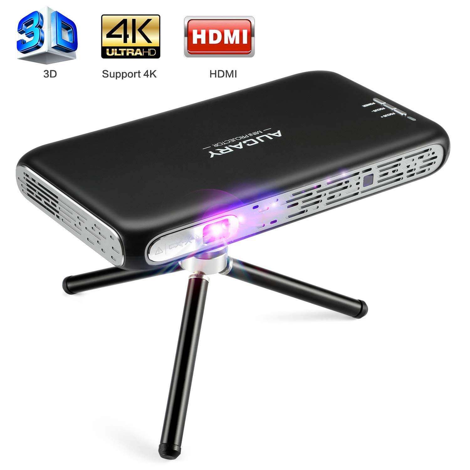 Mini Projector Portable, AUCARY Pico 3D Projector for Home Cinema. Support 1080P and 4K Movies, with Android 6.0,Built-in Battery, Upgrade Stereo Speakers, Wireless Mirroring, WiFi, HDMI,USB