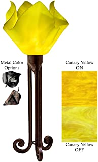 product image for Jezebel Radiance Torch Light. Hardware: Brown with Brown Highlights. Glass: Canary Yellow, Flame Style