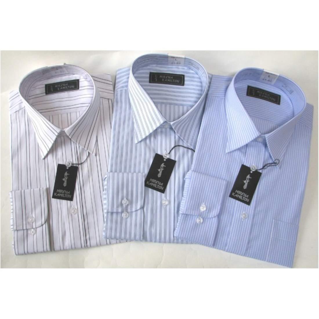 日用品 メンズシャツ 関連商品 メンズビジネスストライプ ワイシャツ 長袖 LLサイズ 【 3点セット 】 B076V6V8XB