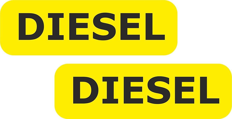 JINTORA Etiqueta para el Coche/Etiqueta engomada - 2X Repostaje de la Memoria Diesel 80mm Voiture Negro/Amarillo Van Taxi - Coche/Ventana/Laptop/Ventana