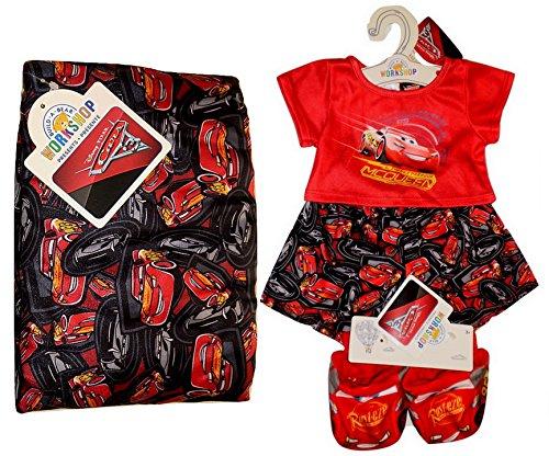 Build a Bear Cars Lightning McQueen PJs Rust-eze Slippers Sleeping Bag 4 pc. Teddy Size Set -