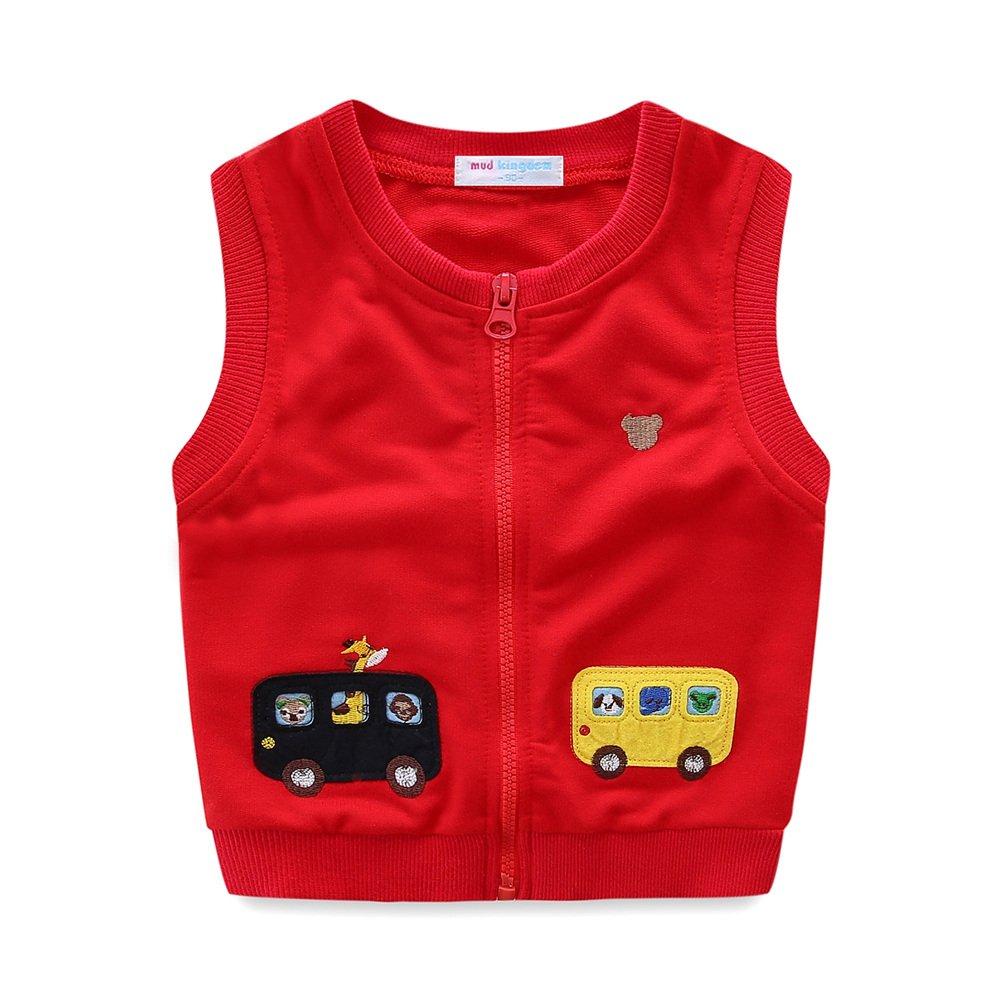 UWESPRING Little Boys Vest Cartoon Car Zipper