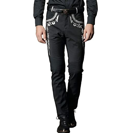 Fanzhuan Mens Black Silver Embroidery Pants Slim Fit Casual At