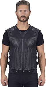 Viking Cycle Odin Premium Cut Club Motorcycle Vest for Men - Lightweight Buffalo Biker Genuine Leather Zip-Up (5-XL)