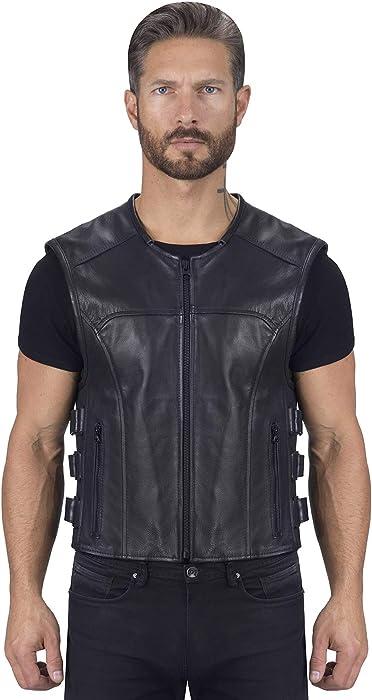 Viking Cycle Odin Premium Cut Club Motorcycle Vest for Men - Lightweight Buffalo Biker Genuine Leather Zip-Up (4-XL)