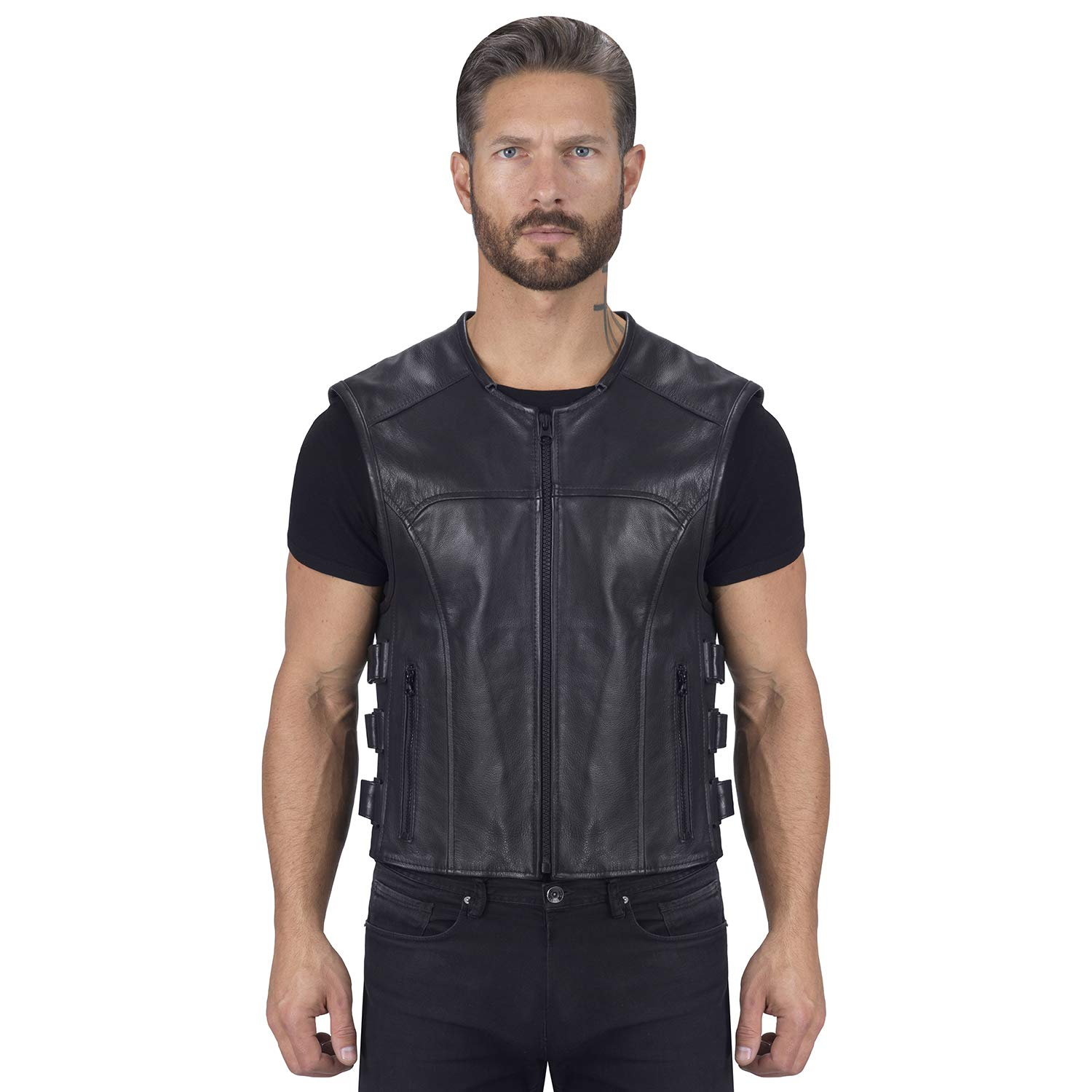Viking Cycle Odin Leather Motorcycle Vest for Men (4X-Large) by Viking Cycle