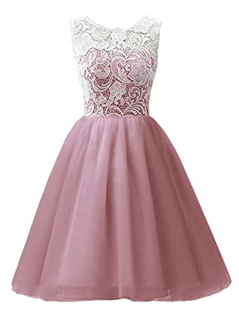 MicBridal Short Lace and Tulle Party Dress Evening Gown for Girls&Women(Blush,Age2)
