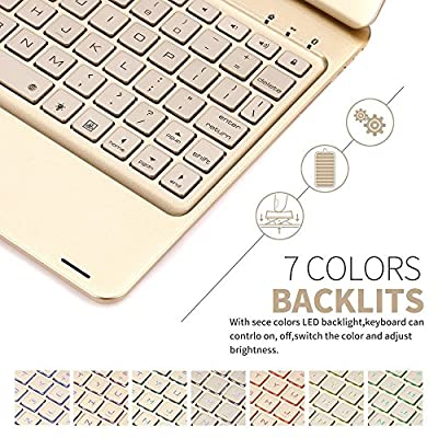 iPad Pro 9.7 bluetooth keyboard case ,elecfan 7 Color Folio Backlit Light Colorful Backlit Keyboard Case With Executive Multi Function Case for iPad Pro 9.7 inch from elecfan
