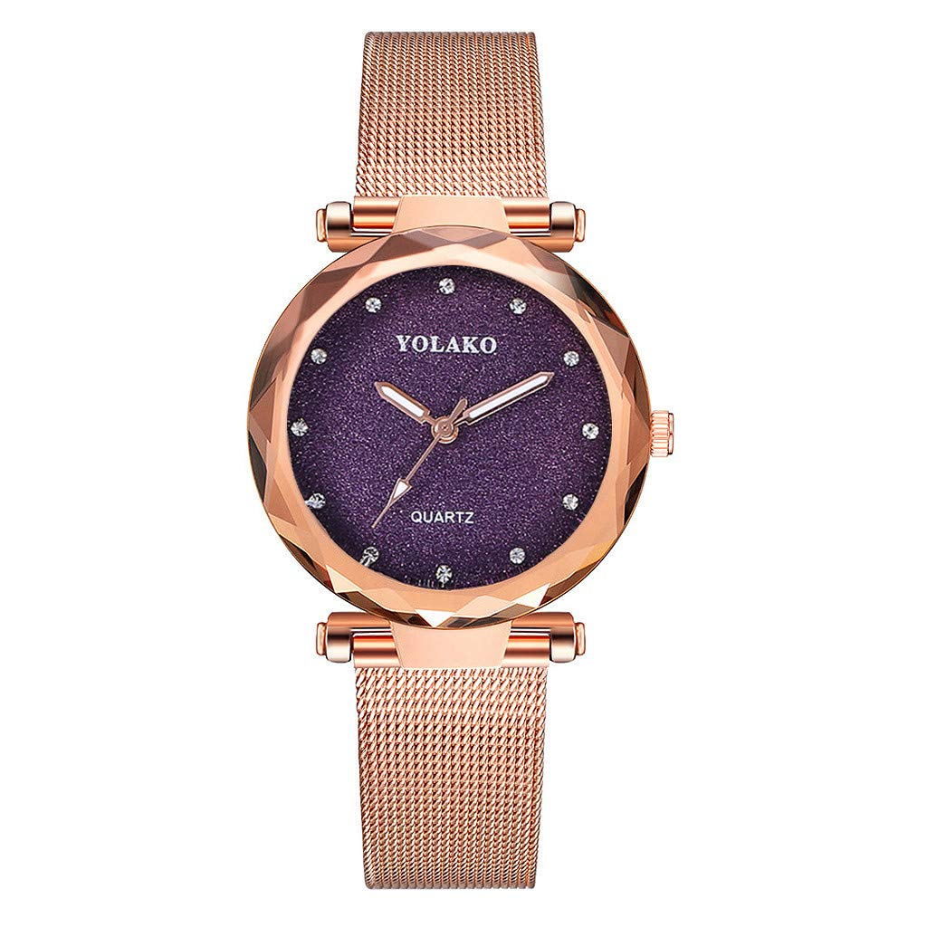 Best Sale! Gibobby Ladies Wristwatches, Casual Luxury Quartz Wrist Watches Chronograph Stainless Steel Mesh Belt Rose Gold Watch