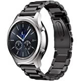 Taslar(TM) Preimium Stainless Steel Metal Band Strap Bracelet With Clips Adjuster For Samsung Gear S3 Frontier & Classic Smart Watch 22MM - Black