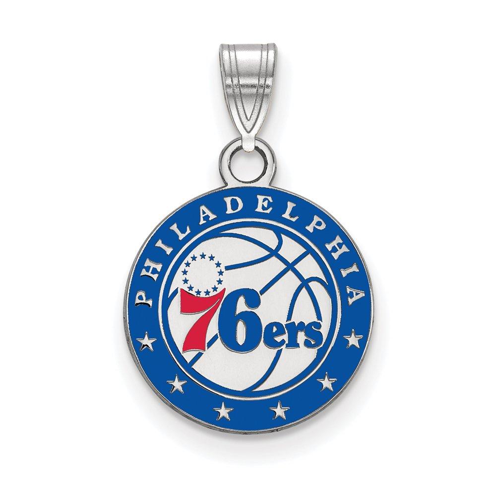 NBA Philadelphia 76ers Small Logo Pendant in Rhodium Plated Sterling Silver