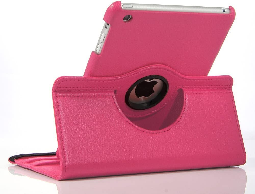 SK MICRO/® PU Leather 360/° Degree Rotating Stand Smart Case For Apple iPad AIR IPAD AIR iPad5, DARK PINK iPad 5 - launched 2013 with Screen Protector 1