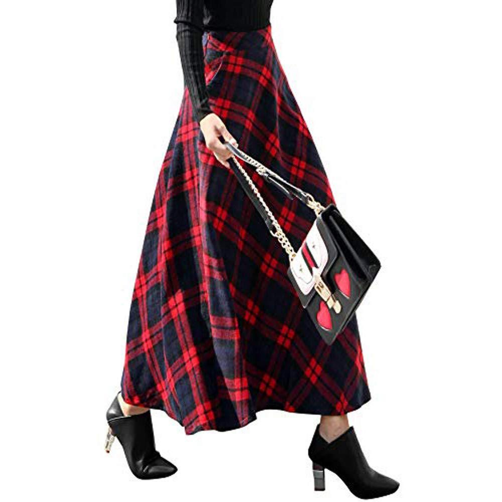 Longra Maxi Skirt Gonna Lunga Stampa a Quadri Gonna Mezza Lunghezza Elegante Gonna Scozzese retr/ò Vestito di Maglina Gonna Midi