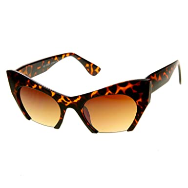 f7d8d78c1df zeroUV - Women s Fashion Semi-Rimless Bottom Cut Cat Eye Sunglasses  (Tortoise)