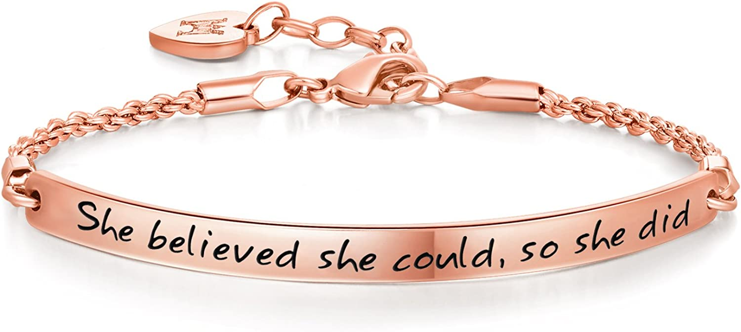 Annamate 2020 Graduation Gift Bracelet for Girls, Inspirational Jewelry Gifts Engraved Message She Believed she Could so she did Quote Bracelets for Women