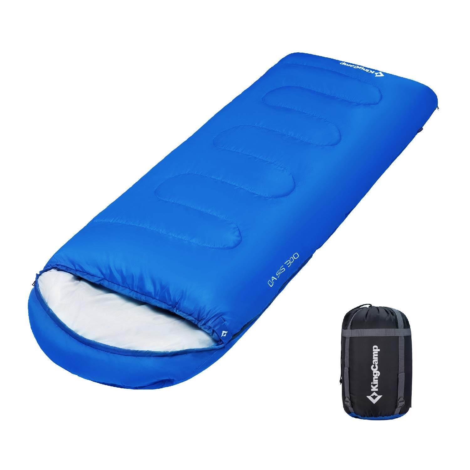 KingCamp Envelope Sleeping Bag 4 Season Lightweight Comfort with Compression Sack Camping Backpack 8.6F/-13C by KingCamp