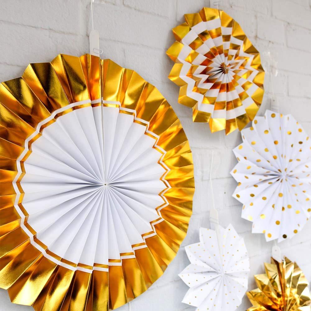 Gold a ventaglio per Compleanno FESTIVIT/À Festa di Nascita GREENSTORE Addio al Nubilato Festone da Appendere in Carta Carta Medium 8 Pezzi Matrimonio