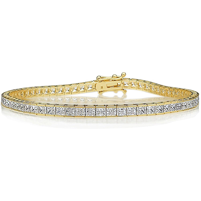 14K Gold 2.5mm Princess Cubic Zirconia Channel Set Tennis Bracelet (Available Size 7, 7.25, 7.5 Inches)