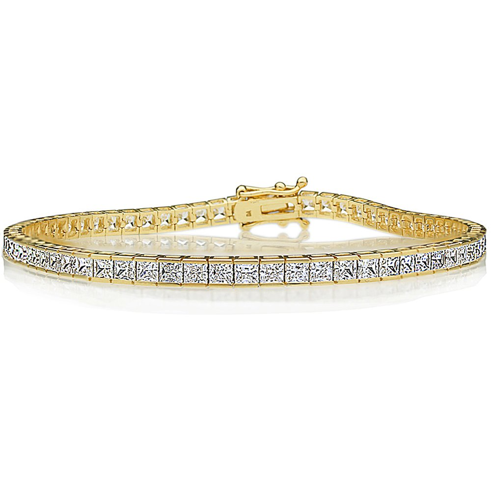 14K Gold 2.5mm Princess Cubic Zirconia Channel Set Tennis Bracelet (Available Size 7, 7.25, 7.5 Inches), 7.5