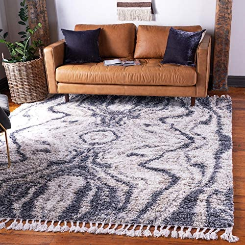 Unique Loom Hygge Shag Collection Abstract Plush Cozy Gray Square Rug 8 0 x 8 0