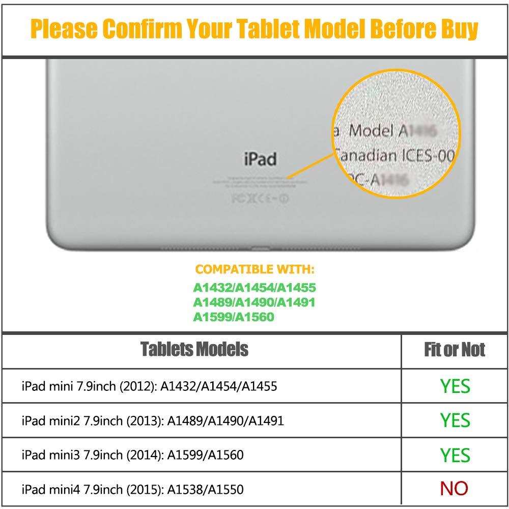 SEYMAC iPad Mini Case, Three Layer Full Body Rugged Heavy Duty Shock Folio Smart Stand Protective Cover with Auto Sleep/Wake Compatible with iPad Mini 1/2/ 3 Generation (Black)