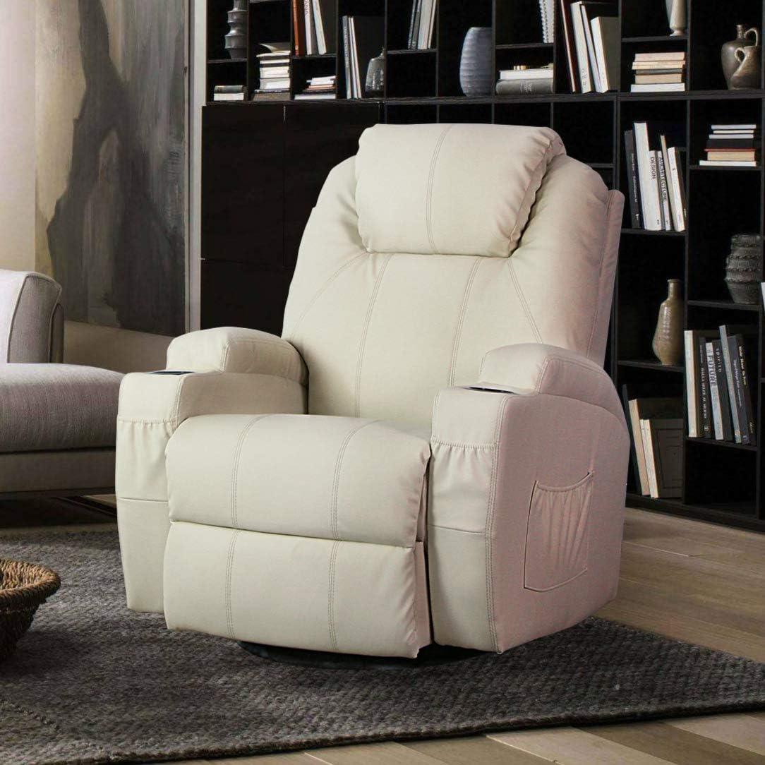 Esright Massage Recliner PU Leather Ergonomic Lounge Heated Chair 360 Degree Swivel Cream