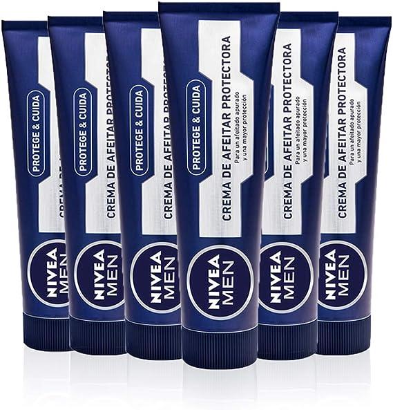 NIVEA MEN Protege & Cuida Crema de Afeitar Protectora, crema hidratante para un afeitado apurado, crema de afeitado para una mayor protección - pack de 6 x 100 ml: Amazon.es: Salud y