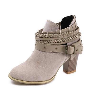NEOKER Damen Stiefeletten Wedge Schnalle High-Heels Reißverschluss Stiefel  Chelsea Schuhe Herbst Römische Trichterabsatz Outdoor 920f622663