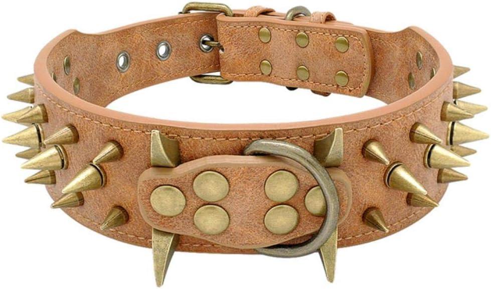 FANJIA Cool Dog Collar Collares para Perros de Cuero con Tachuelas y Pinchos Collar para Perros Pitbull Bulldog Perro para Perros medianos Grandes Boxer Pastor alemán, Marrón, XL