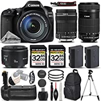 Canon EOS 80D Wi-Fi Full HD 1080P Digital SLR Camera + Canon 18-135mm IS STM Lens + Canon 55-250mm IS STM Lens + Canon 50mm 1.8 II Lens. All Original Accessories Included - International Version