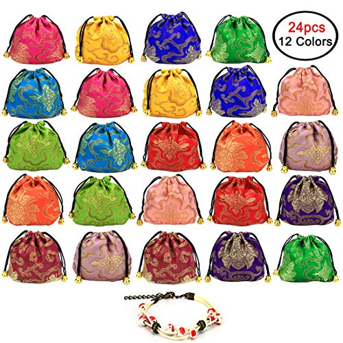 GemEwell 24 pcs Chinese Silk Brocade Embroidered Jewelry Pouch Bag Coin Purse (with 1 Ceramic Bracelet) ()