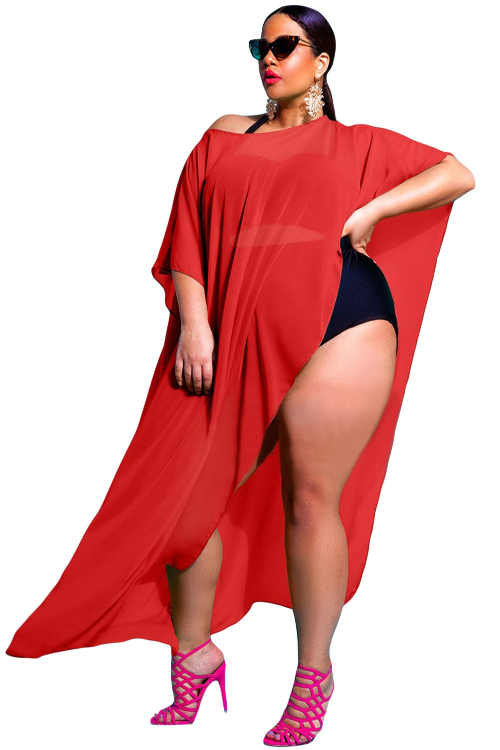 Prime Leader Red Draped Plus Size Cover-up(Red,one size)