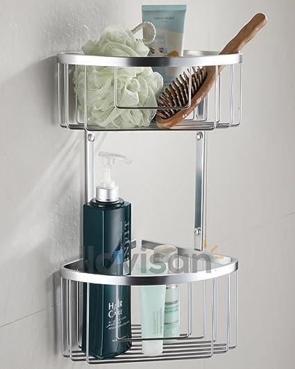 OXEN ® L133904 Cesta esquina doble para baño o ducha para colgar. Portageles para botes