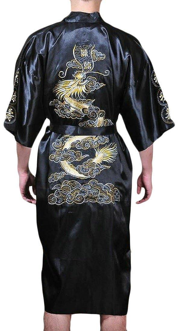 Pandapang Men Silk Belt Short Sleeve Bathrobe Embroideried Lounge Homewear Robe