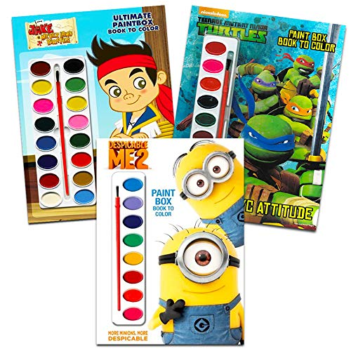 Disney Nick Jr Paint With Water Super Set Kids Toddlers -- 3 Deluxe Paint Books with Brushes (Featuring Minions, Jake and the Neverland Pirates, Teenage Mutant Ninja -