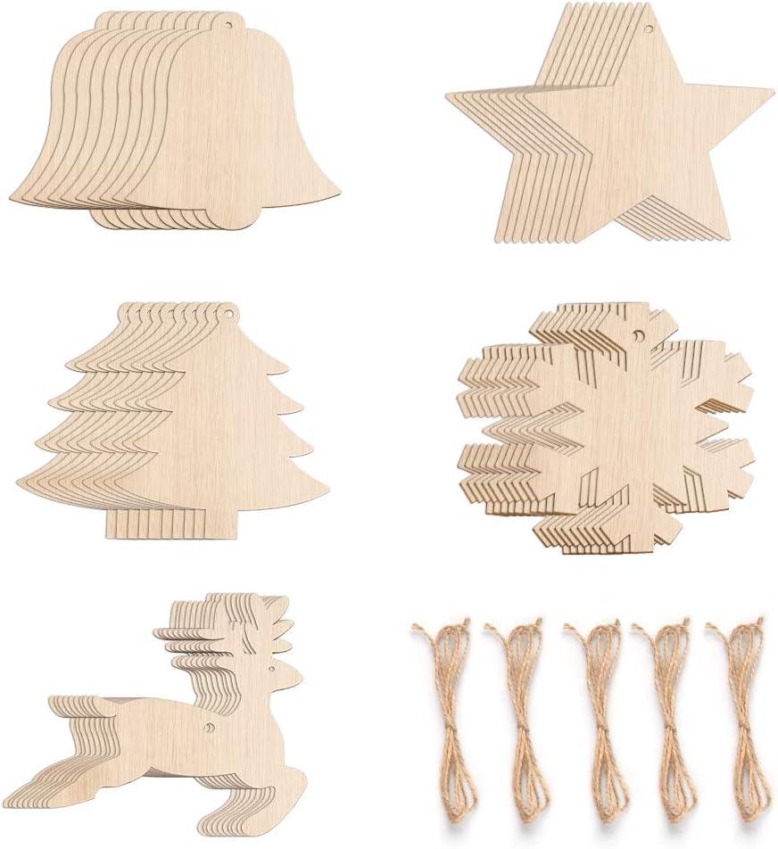 Onepine 50 Unidades 5 Estilos 8 cm Adornos colgantes de Navidad de madera Adornos de madera sin terminar con agujeros con hilo de yute natural