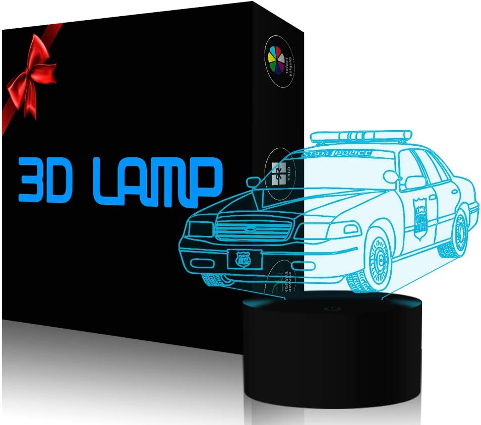 YKL World Police Car Night Light 3D Optical Illusion Lamp LED Desk Table Lamp with Touch Switch Button Control 7 Colors Change USB Cable Lighting Toy for Car Lover Kids Boys Gift Room Decoration