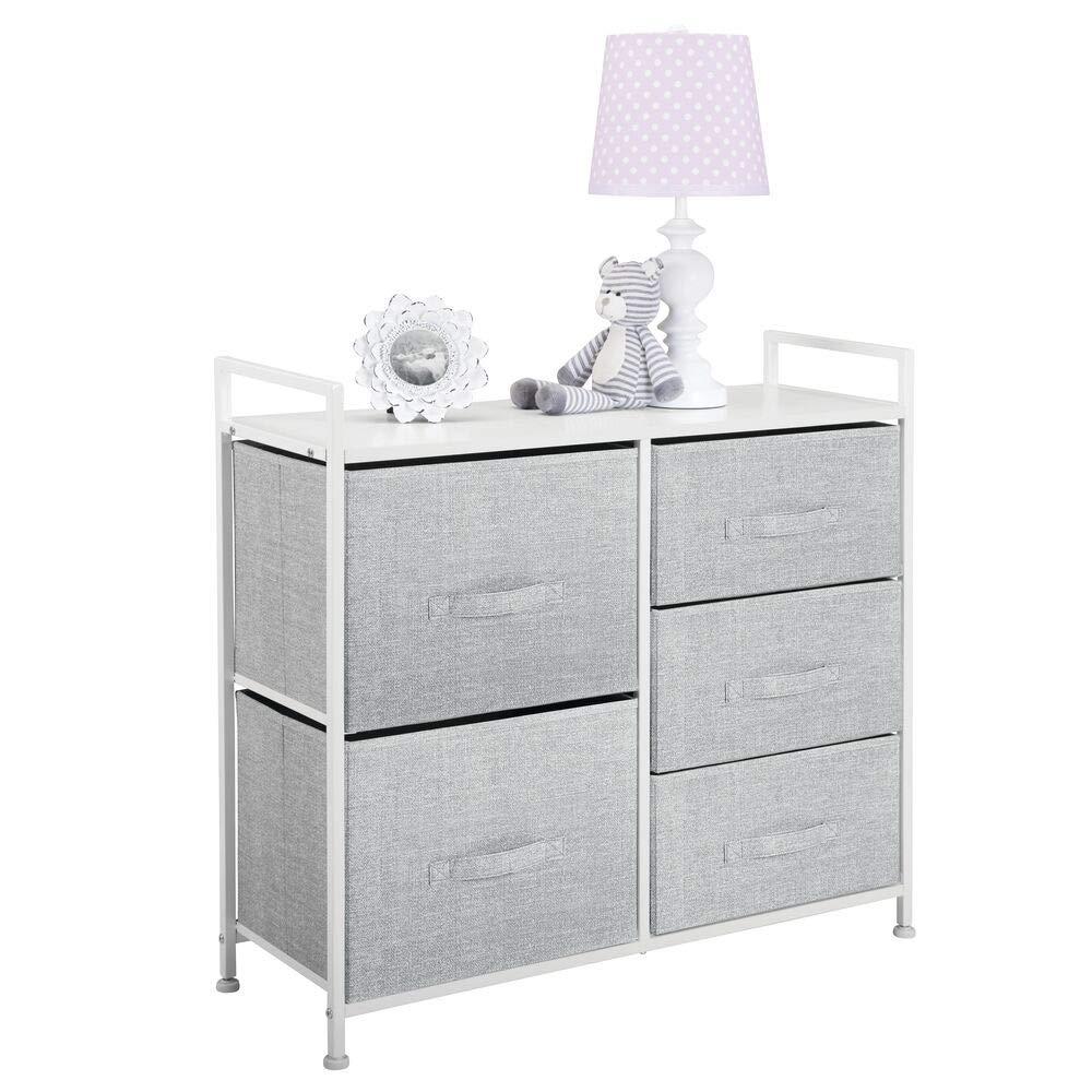 mDesign Cómoda de tela – Estrecho organizador de armarios con 5 cajones – Práctico mueble cajonera para el dormitorio, las habitaciones infantiles o ...