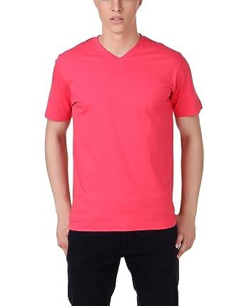 66cd14b153 Aventura Outfitters V Neck Dark Pink T-Shirt - M (AOTE36-M): Amazon ...